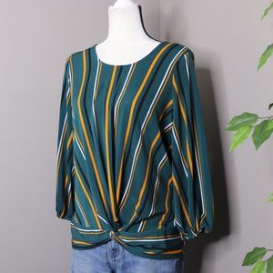 Adrianna Papell Blouse Twist Front Knot Striped
